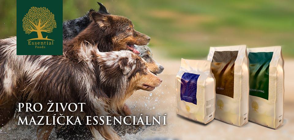 Essential - vynikající britské krmivo, které je založeno na nejnovějších poznatcích ohledně výživy pro Vaše mazlíčky.